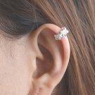 925 Sterling Silver Flower Blossom Cartilage Ear Cuff Wrap Clip On Earring
