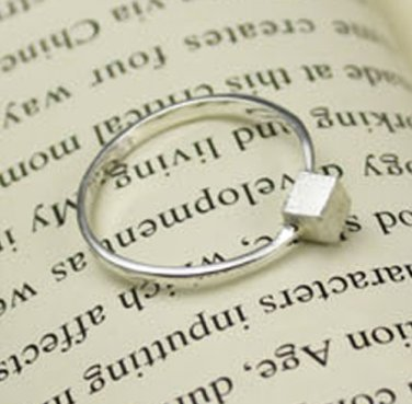 925 Sterling Silver Simple Cube Ring Stacking Band