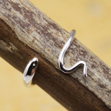 Ssss..... Sterling Silver Baby Coiled Snake Ring - Wrap Around Band