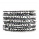 Pearls Beads/Clear Crystal - Chan Luu Inspired Bohemain 5 Wrap Grey Leather Boho Beaded Bracelet