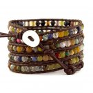 Amazonite Stones - Chan Luu Inspired 5 Wrap Brown Leather Bohemain Boho Bracelet