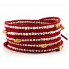 Silver Nuggets/Gold Skull - 5 Wrap Red Leather Bohemain Boho Bracelet