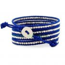 Silver Nuggets - Chan Luu Inspired 5 Wrap Blue Leather Bohemain Boho Beaded Bracelet