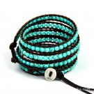 Turquoise Stones - Chan Luu Inspired 5 Wrap Leather Beach Surfer Boho Bracelet