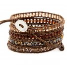 African Jewelry Crystals - Chan Luu Inspired 5 Wrap Brown Leather Bohemain Boho Bracelet