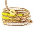 White & Yellow Agate Crystals/Gold Nuggets - 5 Wrap Light Brown Leather Bohemain Boho Bracelet