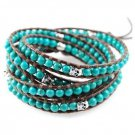 Turquoise Beads/Silver Skull - Chan Luu Inspired 5 Wrap Dark Brown Leather Bohemain Boho Bracelet