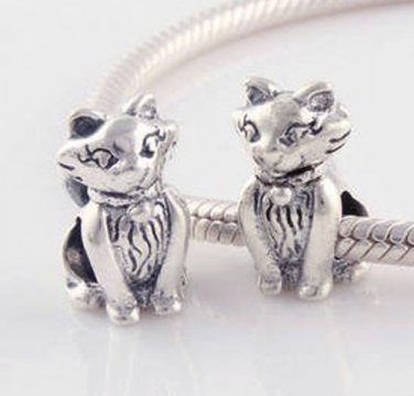 925 Sterling Silver Kitty Cat Charm - fits All European DIY Charm Bead Bracelets