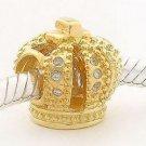 925 Sterling Silver Royal Gold Crown Charm - fits All European DIY Charm Bead Bracelets