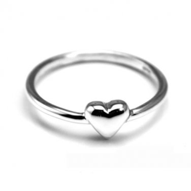 925 Sterling Silver Tiny Heart Ring, Stacking Band