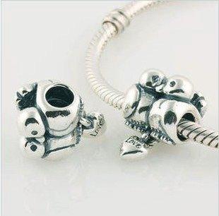 925 Sterling Silver Love Birds Charm - fits European Beads Bracelets