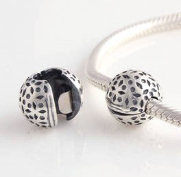 925 Sterling Silver Lace Floral Clip Charm - fits European Beads Bracelets