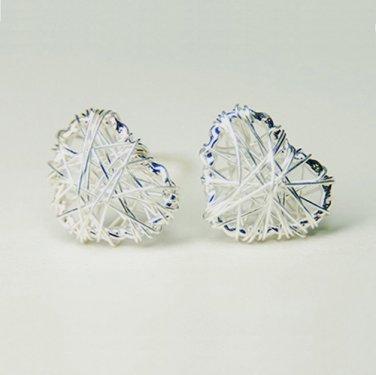 Mini Love Heart Wire Wrapped Mesh Earrings Stud in Sterling Silver