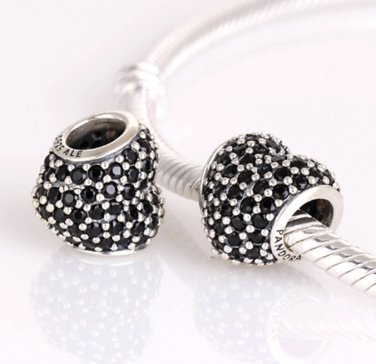 925 Sterling Silver Black Pave Heart Charm - fits European Beads Bracelets