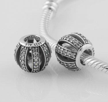 925 Sterling Silver Openwork Pave Barrel Charm - fits European Beads Bracelets