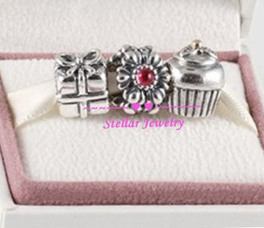 925 Sterling Silver BIRTHDAY SURPRISE Charms Gift Set - fits European Beads Bracelets