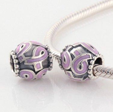 Sterling Silver Enamel Pink Ribbon Breast Cancer Awareness Charm - fits All European DIY Bracelets