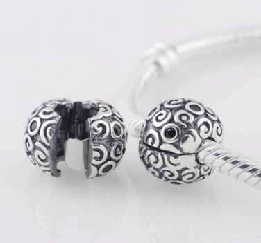 925 Sterling Silver Black Abstract Squiggle Clip Bead -  fits Pandora/Troll/Biagi European Bracelet