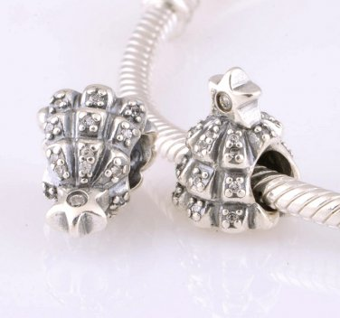 Sterling Silver Pave Christmas Tree of Lights Charm - fits European Beads Bracelets