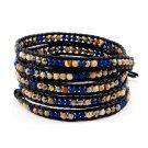 Multicolor Stones Agate - Chan Luu Inspired 5 Wrap Black Leather Bohemain Boho Bracelet