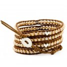 Pearl Ball Beads/Silver Heart - Chan Luu Inspired 5 Wrap Brown Leather Bohemain Boho Bracelet