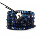 Blue Ocean Ombre Crystals - Chan Luu Inspired 5 Wrap Black Leather Bohemain Boho Bracelet