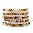 Autumn Woodland Earthly Agate Stones - Chan Luu Inspired 5 Wrap White Leather Bohemain Boho Bracelet