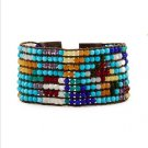 Multicolor Rainbow Semi-Precious Stones - 8 Rows Leather Bohemein Boho Cuff Bracelet