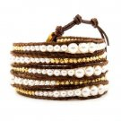 Pearl Ball Beads/Gold Nuggets - Chan Luu Inspired 5 Wrap Dark Brown Leather Bohemain Boho Bracelet