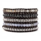 Moonstone/Pearl Beads/Crystals/Agate - 5 Wrap Dark Brown Leather Bohemain Boho Bracelet