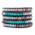 Turquoise Stone/Agate/Clear Crystals - Bohemian 5 Wrap Dark Brown Leather Boho Bracelet