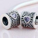 925 Sterling Silver Purple CZ Heart Barrel Drum Charm - for All European DIY Charm Bead Bracelets