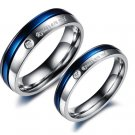 Set of Gorgeous Stainless Steel Blue Stripe  Couple Promise Rings Band