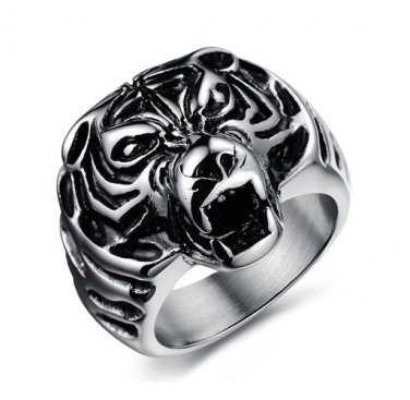 Mens Stainless Steel Fierce Tiger Head Cast Ring Band Biker Style