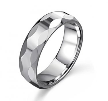 Durable Tungsten Carbide Faceted Cut Men's Ring Wedding Engagement Band Comfort Fit