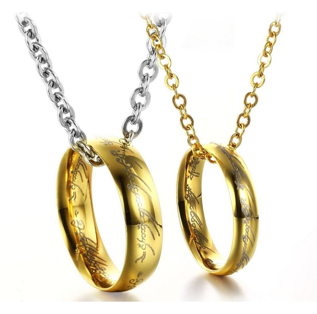 """Set of Gold Stainless Steel """"Lord of the Rings"""" Pendant Mens Womens Couple Necklace"""
