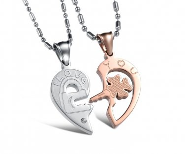 "Titanium Stainless Steel Silver/Rose Gold "" I Love You"" Lock & Key Heart Couple Pendant Necklace Set"