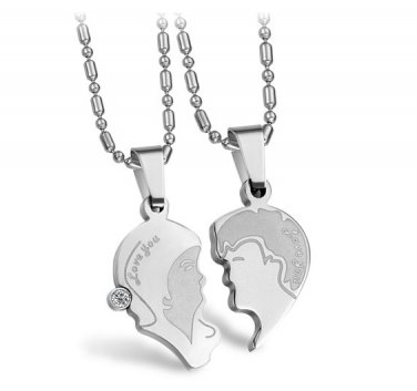 """His & Hers Couple Stainless Steel Puzzle """"Love You"""" Lover Pendant Necklace Set"""