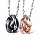 Titanium Stainless Steel Tri-CZ Rings Couple Promise Pendant Necklace Set