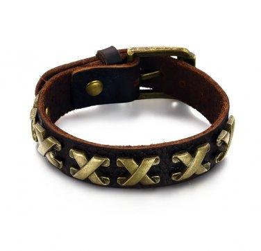Antique Mens Wrap Leather Belt Buckle Bracelet w/ Cross Adjustable  Gothic/Punk/Funky 789