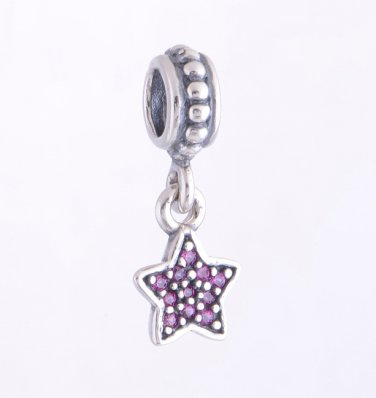 Sterling Silver Pave Star Red CZ Pendant Charm - fits European Beads Bracelets