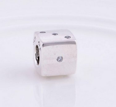 Sterling Silver Lucky Dice Clear CZ Charm - fits European Beads Bracelets