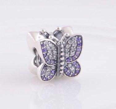 Sterling Silver Sparkling Butterfly Purple/Clear CZ Charm - fits European Beads Bracelets
