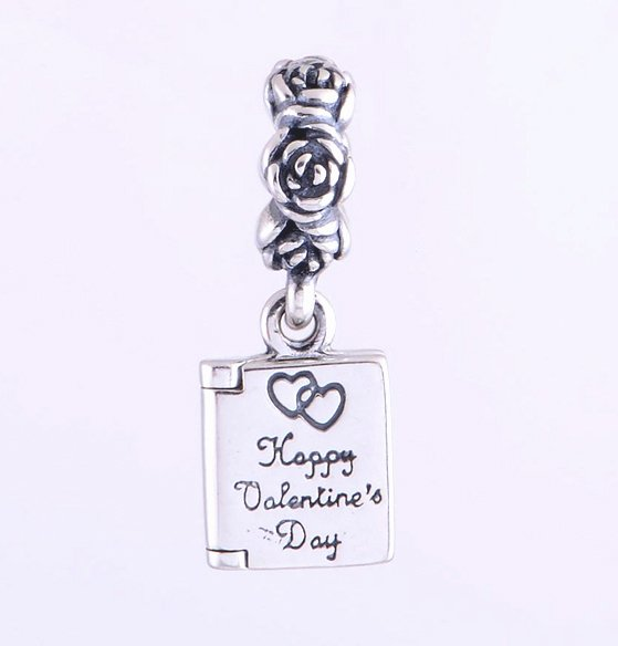 Sterling Silver Love Letter Note Pendant Charm - fits European Beads Bracelets