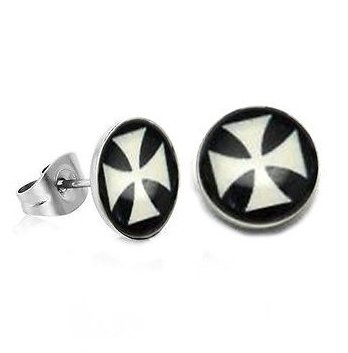 Pair Surgical Stainless Steel White Maltese Iron Cross Post Earrings Stud Mens/Lady's