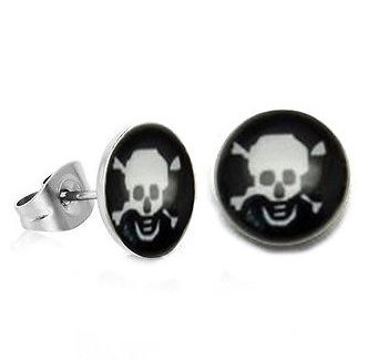 Pair Surgical Stainless Steel Steel Poison Skull & Bone Post Earrings Stud Mens/Lady's