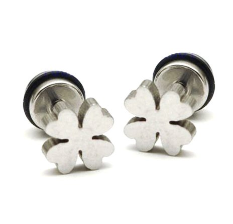 Pair Surgical Stainless Steel Silver Lucky 4 Leaf Clover Earring Stud Mens/Ladys