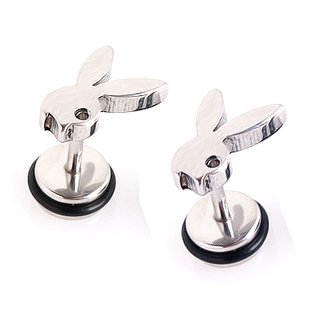 Pair Surgical Stainless Steel Silver Rabbit Playboy Earring Stud Mens/Ladys