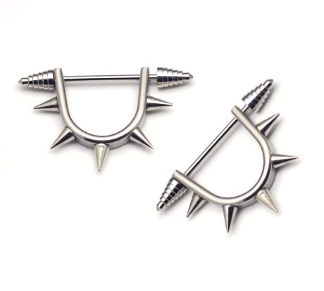 Pair Surgical Stainless Steel Silver Punk Taper 5 Spike Ear Stud Mens