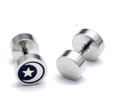 Pair Surgical Stainless Steel Moon Star Barbell Fake Ear Plug Mens